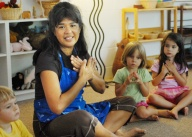 Creative circle time at The Green Preschool in Kailua